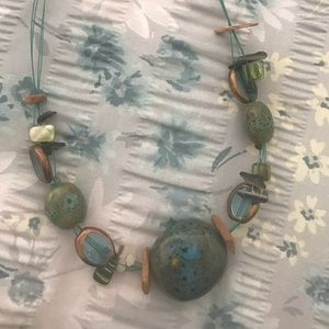 Green/blue multi strand necklace
